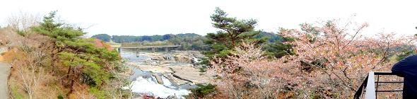 新展望台から曽木の滝をパノラマ撮影